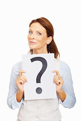 女商人,问号,标志,白色,中年女人,人,白色背景,白人,不确定,迷惑