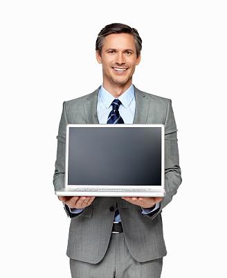 白色背景,男商人,笔记本电脑,中老年男人,专业人员,电子邮件,背景分离,热情,仅一个中老年男人,出示