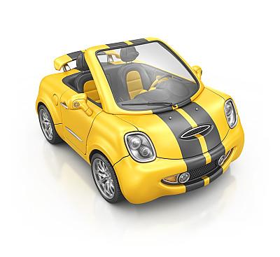 蜜蜂,黄色,嘻哈汽车,汽车,卡通,玩具,正面视角,无人,敞篷车,小的