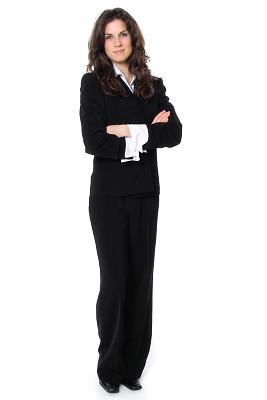 女商人,苗条,专业人员,背景分离,肖像,客户服务代表,全身像,影棚拍摄,办公室,站