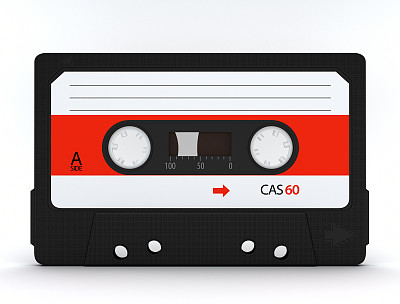 盒式录音带,磁带录音机,三维图形,磁铁,水平画幅,侧面视角,标签,白色,唱,听