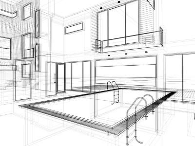 室内,三维图形,游泳池,现代,接线框,计划书,线条,草图,住宅内部,建筑
