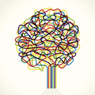 抽象,艺术,创造力,技术,数据,条纹,树,绘制,沟通,剪影