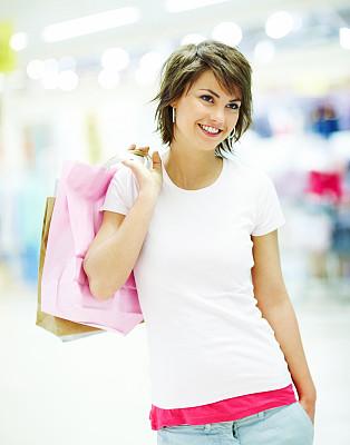 拿着,可爱的,购物袋,青年女人,儿童,交流方式,年龄,面部表情,图像技术,彩色图片