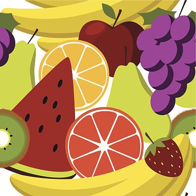 水果沙拉,式样,矢量,葡萄,时髦的,白色背景,橙子,成组图片,粉柚,精神振作