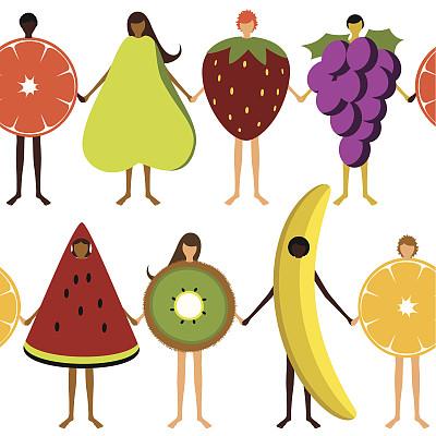 式样,儿童,水果,西瓜,草莓,女孩,柠檬,人,白色背景,橙子