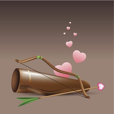弓箭,小天使,大弓,矢量,慈姑,箭术,射箭弓,情人节,绘画插图
