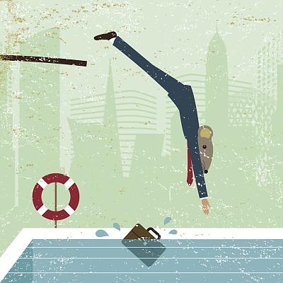 风险,商务,跳板,男商人,游泳池,动物,主动,勇气,男人,概念