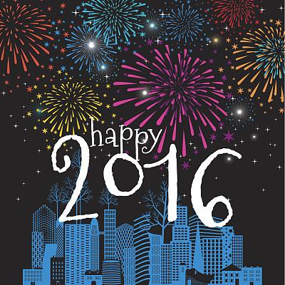 放焰火,新年前夕,2016,冬天,都市风景,贺卡,滑板公园,矢量,庆祝