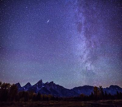 大提顿,银河系,山脉,在上面,仙女座星系,提顿山脉,怀俄明,建筑结构,星系