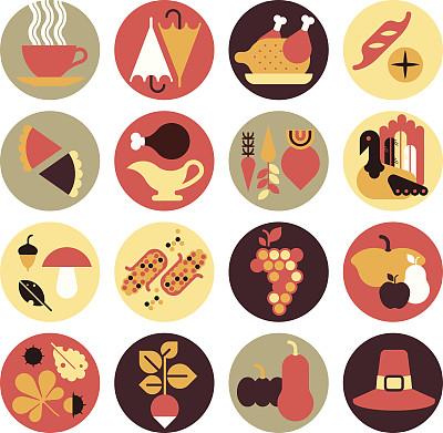 节日,晚餐,图标集,火鸡,肉馅饼,汤匙,季节,餐具,美味馅饼,蘑菇