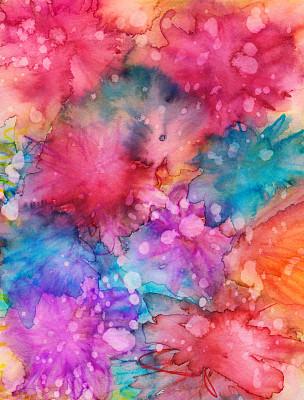 纹理,背景,手工着色,色彩鲜艳,墨水,水彩画,材料,艺术,水彩画颜料,橙色