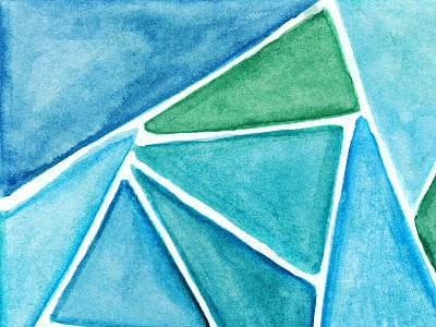 三角形,蓝色,手工着色,绿色,艺术,水彩画颜料,水彩颜料,设计元素,美术工艺