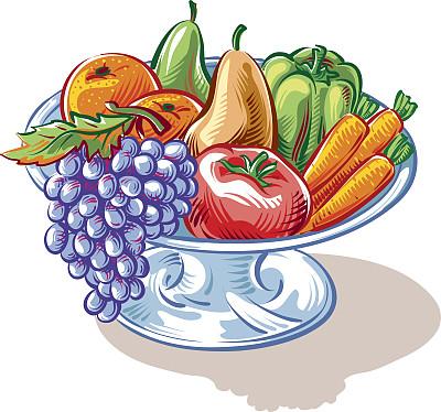 果盘,水果,蔬菜,桃,黄色,矢量,灯笼椒,蓝色,胡萝卜,梨