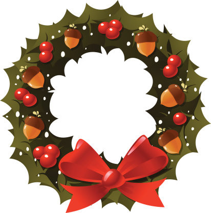 花环,洋葱花,星形,冬青树,叶子,橡树果,浆果,缎带,庆祝