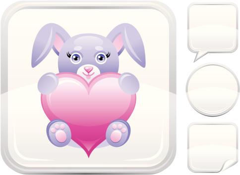 银色,计算机图标,华贵,心型,小兔子,按键区,儿童,白色背景,节日,紫色