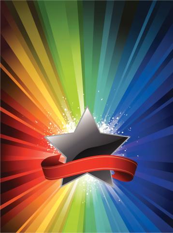 星星,住宅内部,灯光技术,阶调图片,多色的,星形,彩虹,背景分离,庆祝