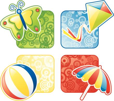 夏天,天气,矢量,遮阳伞,风筝,蝴蝶,阳伞,绘画插图,自然,海滩充气球