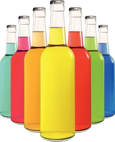 瓶子,苏打,饮食,饮料,含酒精饮料,冷饮,啤酒,蓝色,绿色,粉色