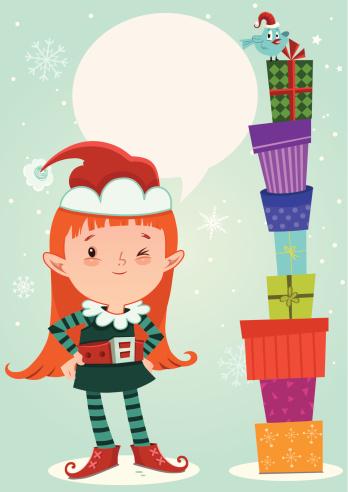 小精灵,女孩,扩音器,儿童,节日,圣诞包装纸,礼物,庆祝,享乐