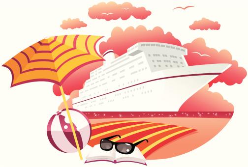 邮轮,热,异国情调,旅途,旅游目的地,船,毛巾,太阳镜,日落,度假