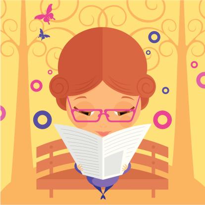 夏天,女人,派克大街,户外,周末活动,公园,矢量,读书