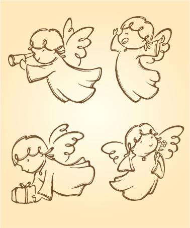 天使,可爱的,两只动物,灵性,礼物,便携式望远镜,棕褐色调,动物身体部位,布置,庆祝