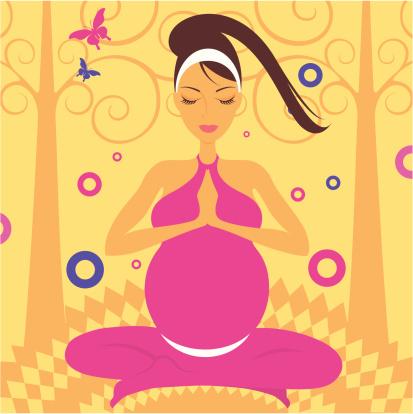瑜伽,生活方式,闭着眼睛,矢量,女人,成年的,怀孕,练习,坐