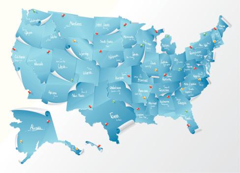 美国,便签,城市,美洲,蓝色,纸,背景,计算机图标