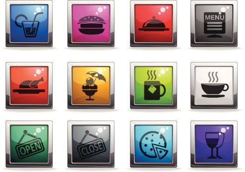 计算机图标,咖啡馆,鸡肉,汤匙,餐具,咖啡,矢量,彩色图片,甜点心,剪影