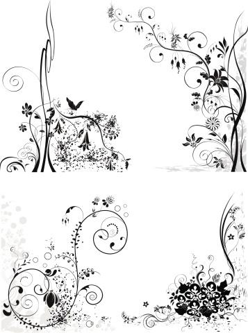 式样,绘画插图,装饰物,仅一朵花,设计元素,矢量,叶子,花,弯曲