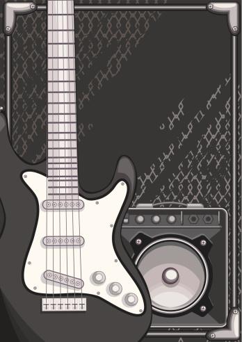 扩音器,吉他,摇滚乐,从容态度,时髦的,人,黑色,音乐,钢铁