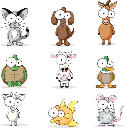宠物,牲畜,马,动物主题,母牛,犬科的,动物,金鱼,矢量,动物群