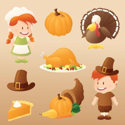 豐收的羊角,烤火雞,南瓜派,烤雞,朝拜者,帽子,蔬菜,南瓜,圍裙,計算機圖標
