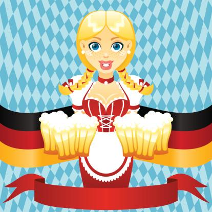 啤酒节,女孩,紧身连衣裙,女招待,人,含酒精饮料,啤酒,金色头发,德国,巴伐利亚