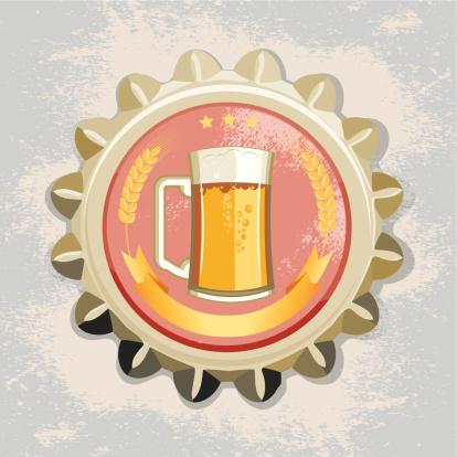 啤酒瓶,瓶盖,烈啤酒,含酒精饮料,鸭舌帽,啤酒泵,裸麦,黄色,标签,矢量