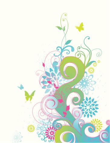 春天,嬉戏的,概念和主题,自然,绿色,蝴蝶,有蔓植物,叶子,流水,花