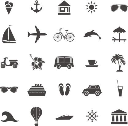 计算机图标,夏天,互联网,节日,图标集,飞机,旅途,布置,度假,探险