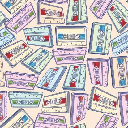 盒式录音带,噪声,四方连续纹样,合成音乐,内置扬声器,磁带录音机,波普风,嘻哈,舞曲,摇滚乐