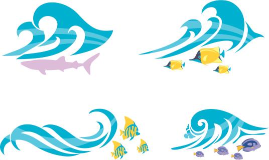 海滩,波浪,海洋生命,水下,背景分离,热带气候,矢量,活力,构图,剪影