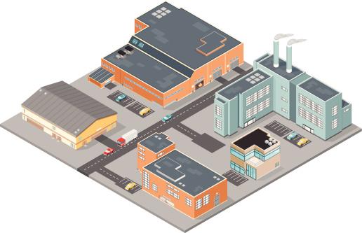 商务,工业,白色背景,市区,货运,办公室,建筑结构,金融区,停车