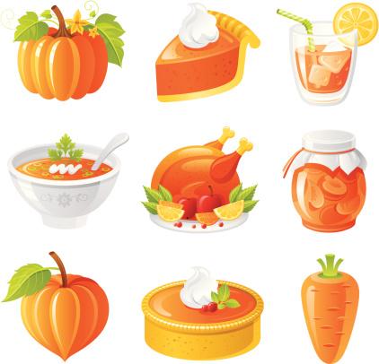 节日,橙子,图标集,食品,桃子酱,南瓜汤,烤火鸡,杏子酱,南瓜派,烤鸡