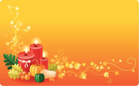 节日,背景,蜡烛,橡树叶,季节,黄色,火焰,矢量,常春藤,叶子