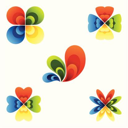 形状,花瓣,设计元素,矢量,抽象,式样,绘画插图,多色的,色彩渐变,重复