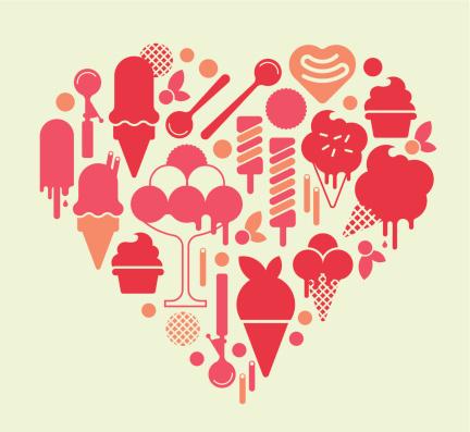 冰淇淋,心型,汤匙,矢量,舀勺,食品,甜点心,构图,剪影,吃
