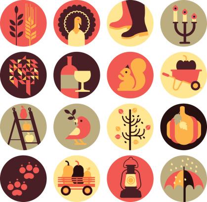秋天,图标集,马车,雨鞋,肉馅饼,美味馅饼,证章,动物,帽子,矢量