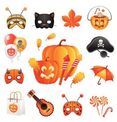 绘画插图,放焰火,惊骇,节日,季节,帽子,矢量,面具,布置