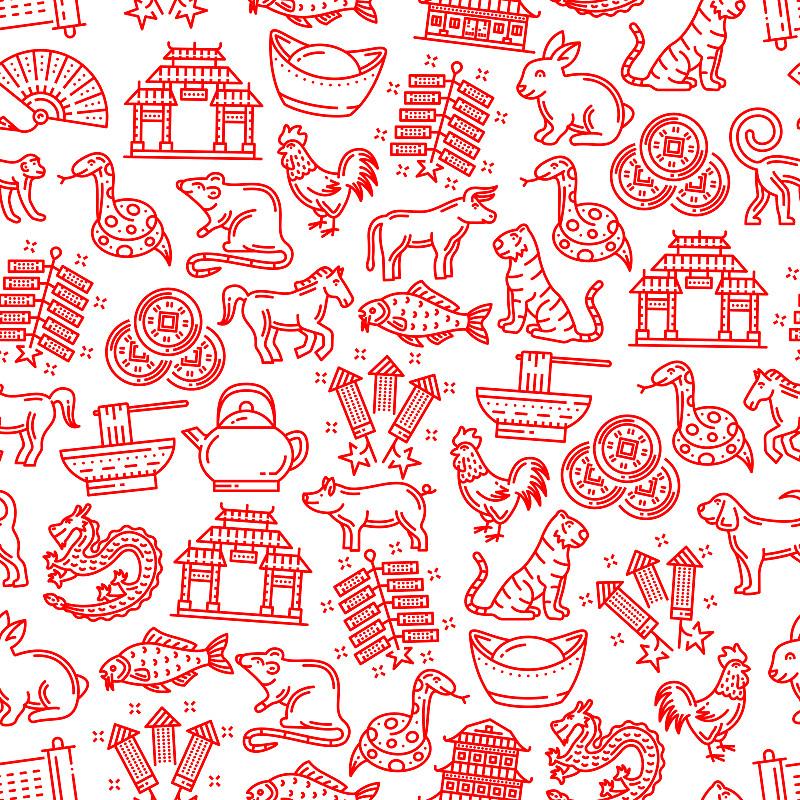 动物,组物体,十二生肖,四方连续纹样,春节,日历,灯笼,中国灯笼,米,狗
