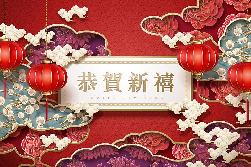 新年前夕,月亮,春节,亚洲,传统,灯笼,中国灯笼,彩色背景,红色背景,图像