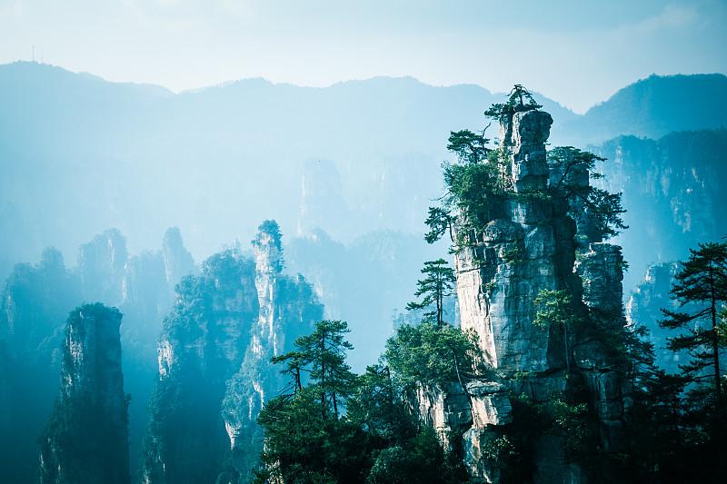 山,地形,中国,张家界,公园,水平画幅,传统,早晨,旅行者,户外